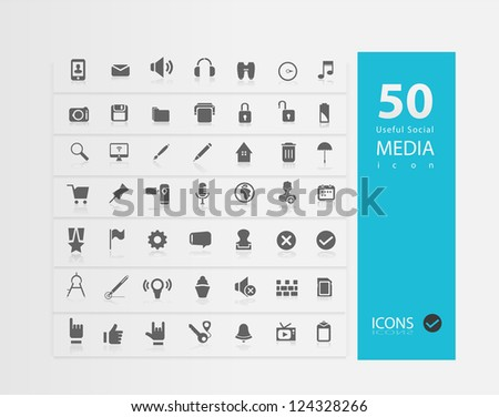 Media Icon set ( Set of 50 Quality icons ) - stock vector