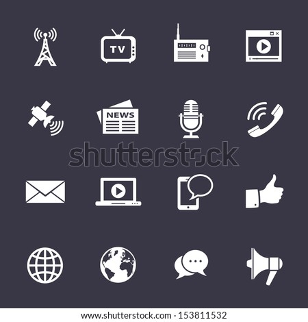 Media Icons. Clean vector icons on black - stock vector