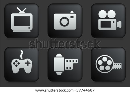 Media Icons on Square Black Button Collection Original Illustration - stock vector
