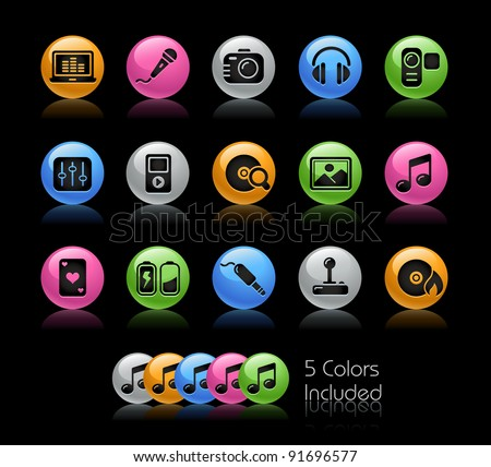 Media Icons / The file Includes 5 color versions in different layers. - stock vector