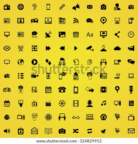media 100 icons universal set for web and mobile