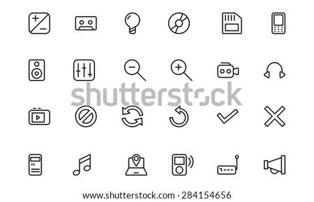 Media Line Vector Icons 3 - stock vector