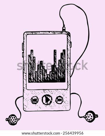 Media mp3 player, hand drawn, doodle style - stock vector