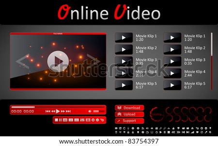Media player and a set of interface elements for web site - stock vector