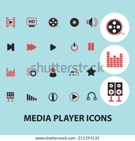 media player black isolated icons, signs, silhouettes, illustrations set, vector - stock vector