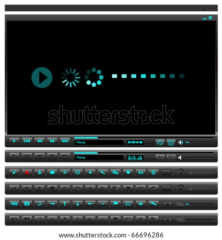 Media player button set - stock vector