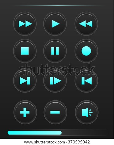Media player buttons blue color collection vector design elements on black background