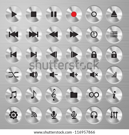 Media player buttons collection. Polished metal buttons with music media symbols. - stock vector