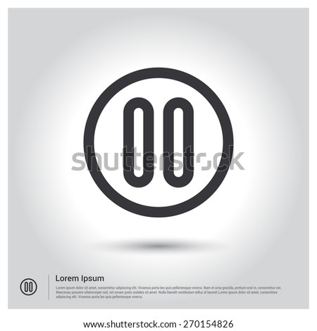 media player control button Pause Icon. Vector illustration for web, site, mobile application. Simple flat metro design style. Outline Icon. Flat design style - stock vector