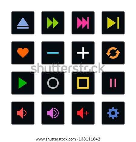 Media player control button ui icon set. Color on black. Simple rounded square sticker internet sign. Solid plain monochrome color flat tile style. Vector illustration web design elements 8 eps - stock vector