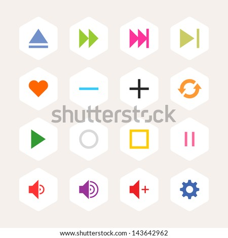 Media player control button ui icon set. Simple rounded hexagon internet sign on beige background. Solid plain monochrome color flat tile. New minimal elegant metro style. Web design elements 8 eps - stock vector