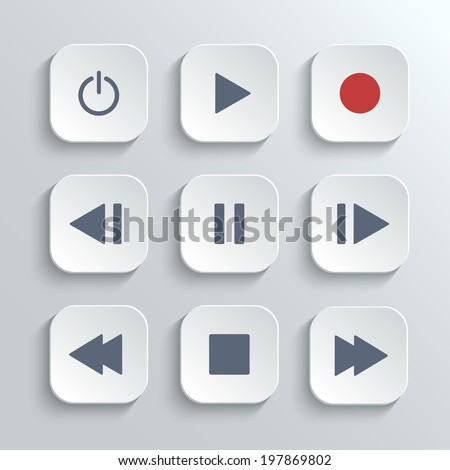 Media player control ui icon set- vector white app buttons with home - stock vector