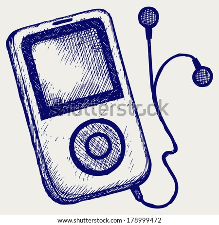 Media player. Doodle style - stock vector