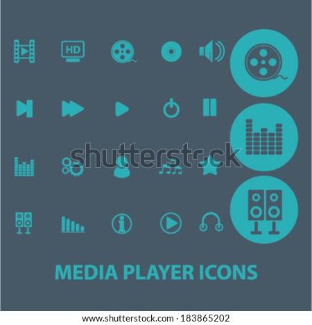 media player flat icons set  for digital web, print, design, mobile phone apps, vector - stock vector