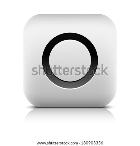 Media player icon with record sign. Rounded square web button with black shadow gray reflection on white background. Series in a stone style. Graphic vector illustration internet design element 8 eps