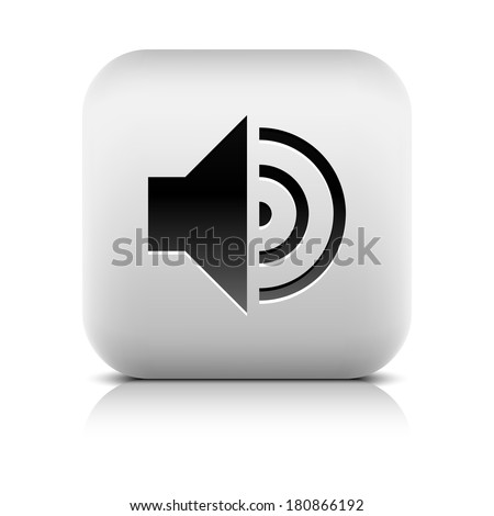 Media player icon with volume high sign. Rounded square web button with black shadow gray reflection on white background. Series in a stone style. Vector illustration internet design element 8 eps - stock vector
