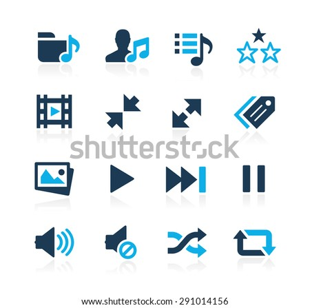 Media Player Icons // Azure Series - stock vector