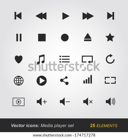 Media Player Icons Set...