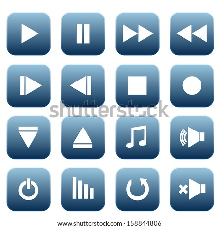 Media player icons set, vector illustration - stock vector