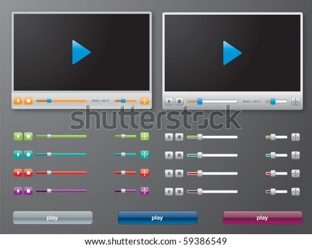 media player in vector - stock vector