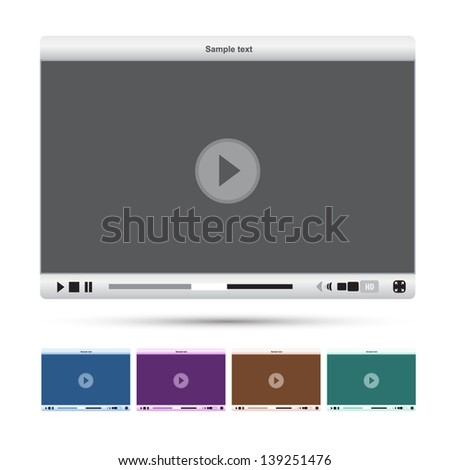 Media player interface - stock vector