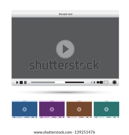Media player interface - stock vector