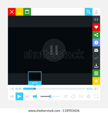Media player interface with video loading bar and additional movie buttons. Simple solid plain one color flat tile. New modern minimal metro cute style. Vector illustration web design element 8 eps - stock vector