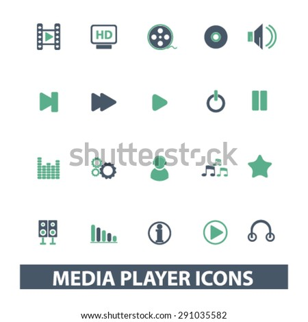 media player isolated icons, signs, illustrations on white background for website, internet, mobile application, vector - stock vector