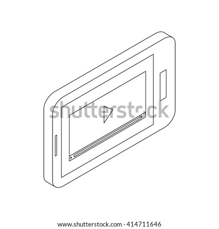 Media player on a phone icon, isometric 3d style - stock vector