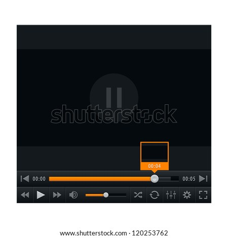Media player with video loading bar and additional movie buttons. Contemporary classic black dark style. This vector illustration web design element saved in 10 eps - stock vector