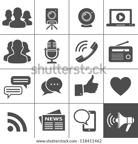Media & Social Network Icons. Simplus series. Each icon is a single object (compound path) - stock vector