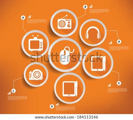 Media & Technology,Orange version,vector - stock vector