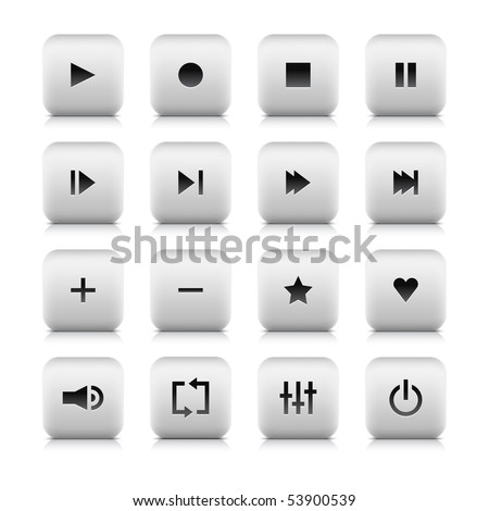 Media web 2.0 audio video control button for web sites, applications and flash players . White stone rounded square shape with shadow  and reflection. Isolated on white background - stock vector