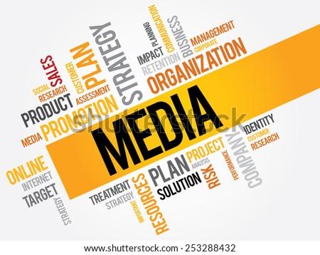 MEDIA word cloud, business concept - stock vector
