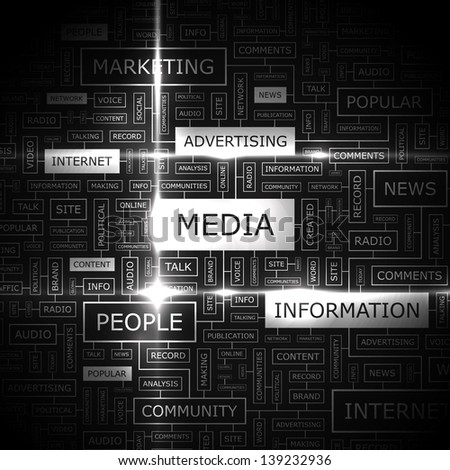 MEDIA. Word cloud concept illustration. - stock vector