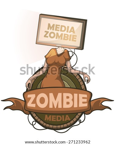 Media zombie women with flat screen tv for a head connected to the body. Label isolated - stock vector