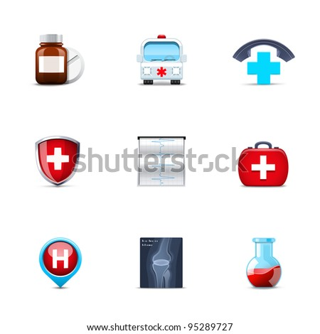 Medical and health-care icons - stock vector