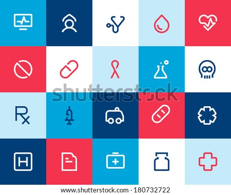 Medical and health care icons. Flat - stock vector