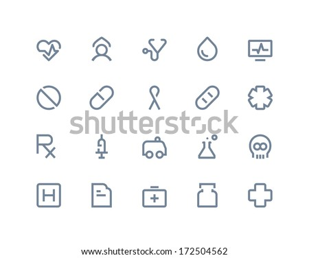 Medical and health care icons. Line series - stock vector
