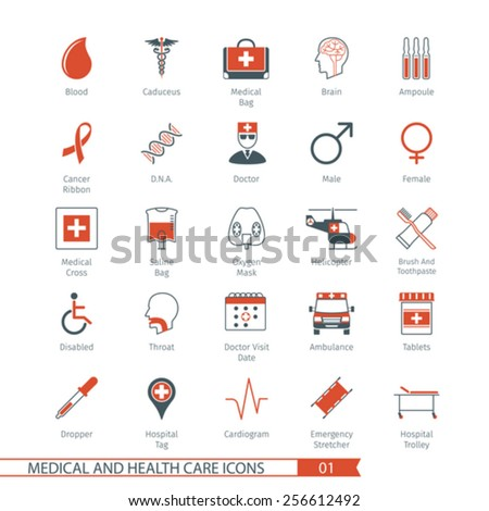 Medical and Health Care Icons Set 01 - stock vector