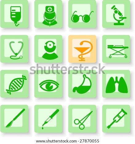 Medical and health care vector icons, part 2 - stock vector