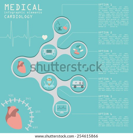 Medical and healthcare infographic, Cardiology infographics. Vector illustration - stock vector