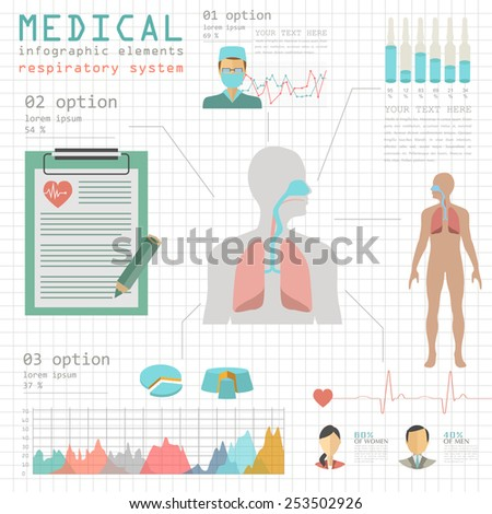 Medical and healthcare infographic, respiratory system infographics. Vector illustration - stock vector