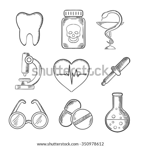 Medical and healthcare sketched icons with a tooth, dentistry, poison, microscope, heart with ECG, spectacles, dropper and laboratory tube. Sketch style icons - stock vector