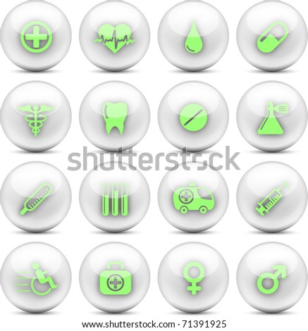 Medical and healthcare vector icons - EPS10 - stock vector