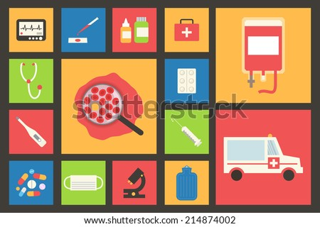 Medical and healthcare vector icons set. Ambulance, blood transfusion, pharmacy - stock vector