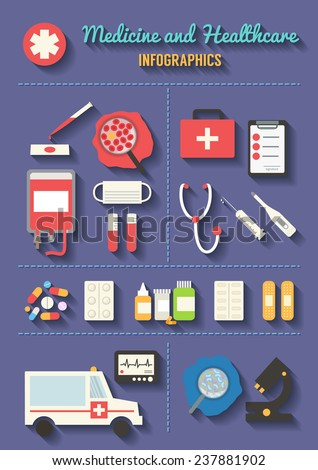 Medical and healthcare vector icons set. Ambulance, blood transfusion, pharmacy. Flat design long shadows vector. - stock vector
