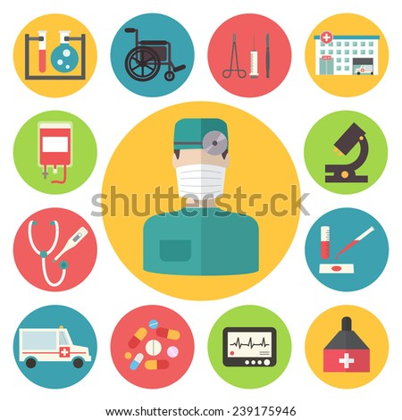 Medical and healthcare vector icons set. Ambulance hospital. Flat design vector. - stock vector