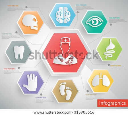 Medical and healthy care info graphic design,clean vector - stock vector