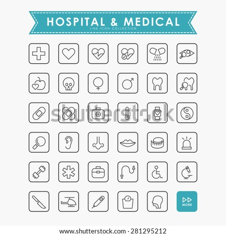 medical and hospital outline icons